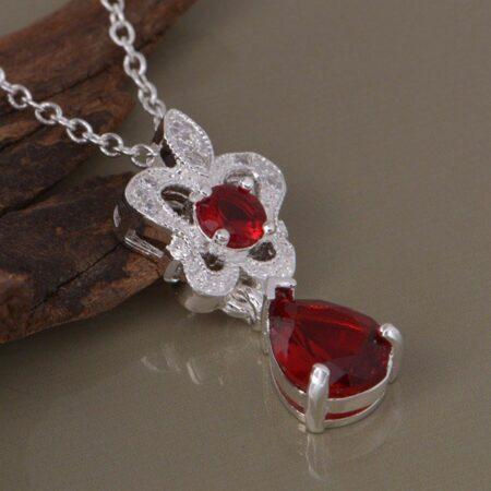 925 ayar gümüş kırmızı kalp şeklinde kolye shoppine