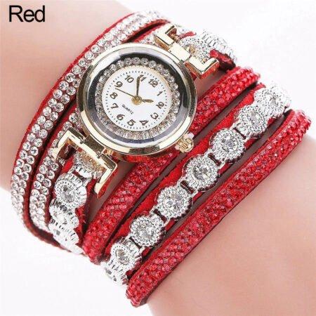 Hediyelik Bayan kol Saat Bileklikli Kırmızı Renk shoppine
