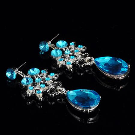 Gelin Takı Seti Abiyelik Kolye Küpe Set Mavi