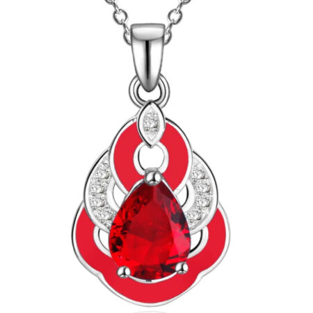 kırmızı yakut gümüş kolye