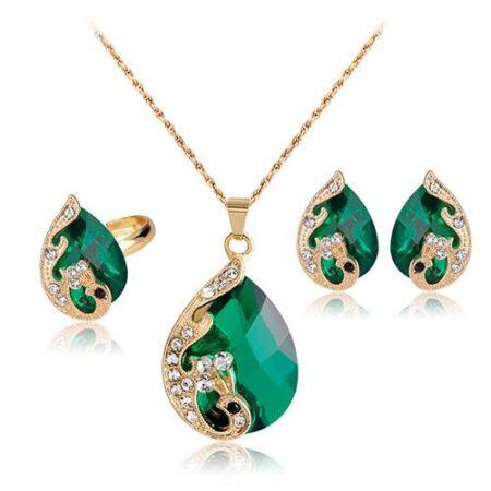 Zümrüt Yeşili Kolye Üçlü Takı Seti