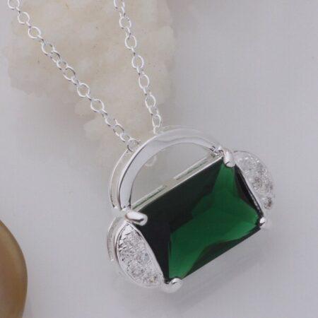 zümrüt yeşili gümüş kolye